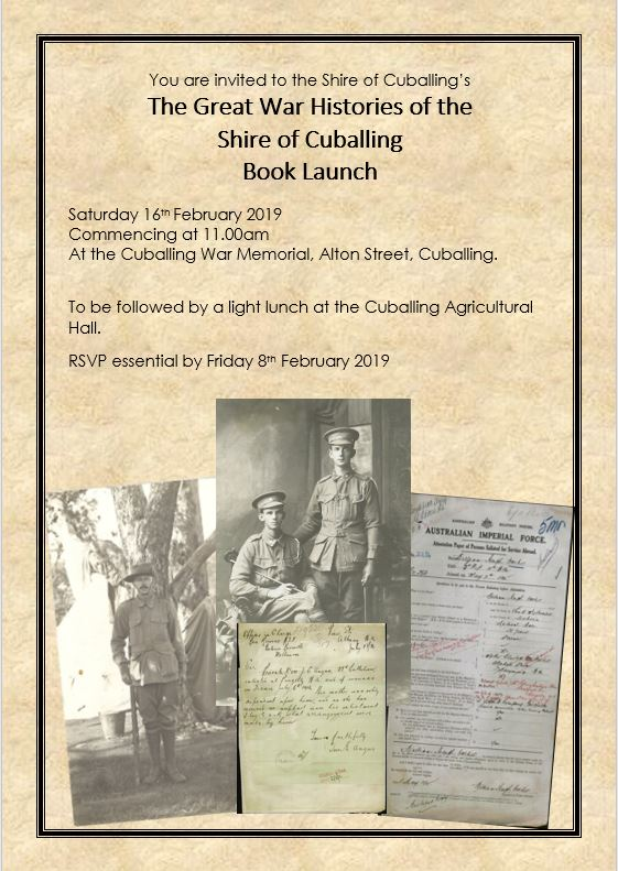 The Great War Histories of the Shire of Cuballing Book Launch